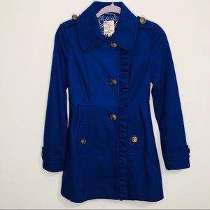 Tulle royal blue ruffle anchor button pea coat XS
